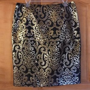 Sunny Leigh Black and Gold scroll design skirt